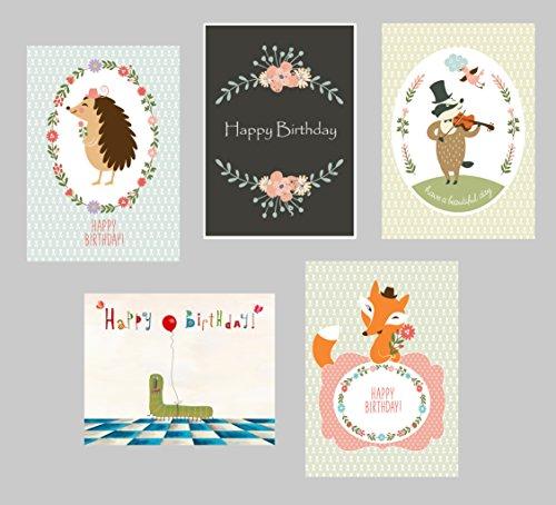 Postkarten Geburtstag 5er Set, Gebutstagskarten 5er Set, Geburtstagskarte