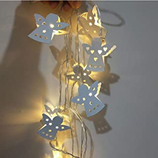 AKDSteel AA Battery Metal Iron Hollow Angel LED String Fairy Light Christmas Party Wedding Warm White 1.5 Meters and 10 Li...