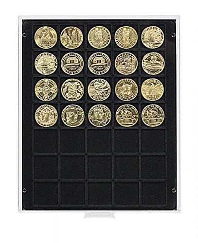 Lindner 2135C Bandeja moneda Carbo con 35 huecos cuadrados para monedas/cápsulas con Ø de 36 mm