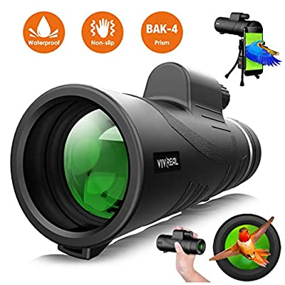 Monocular Telescope - 12X50 High Power ?HD Monocular for Bird Watching? with Smartphone Holder & Tripod IPX7 Waterproof Monocular Made by Hyper FMC BAK4 Prism & Eco-Friendly Materials from VIVREAL