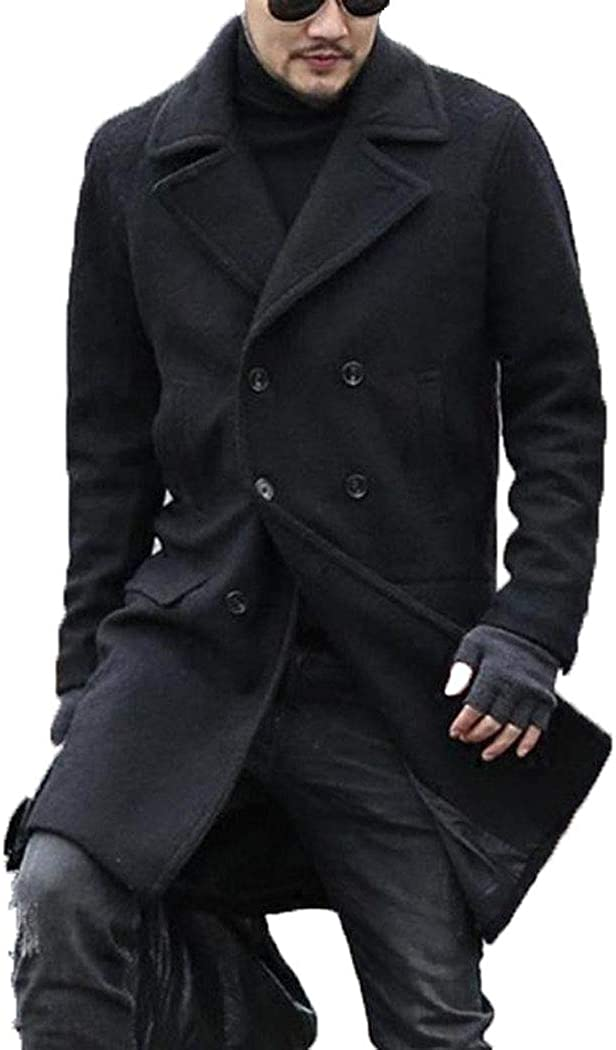 Michealboy Men's Wool Blend Double Breasted Slim Fit Pea Coat for Business
