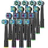 QLEBAO Recambios Cepillo Compatible con Oral b Recambios Cepillos Electricos, 16 Cabezales para Oral B, 4 Whiteclean, 4 Precision-Clean, 4Flossclean, 4 Crossclean Cabezales de Cepillo de Dientes Negro