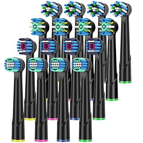 QLEBAO16er Aufsteckbürsten für Oral B Elektrische Zahnbürsten, 4er Whiteclean, 4er Precision Clean, 4er Tiefenreinigung, 4er Cross Clean Aufsätze, Kompatibel mit Braun Oral b Zahnbürsten, Schwarz