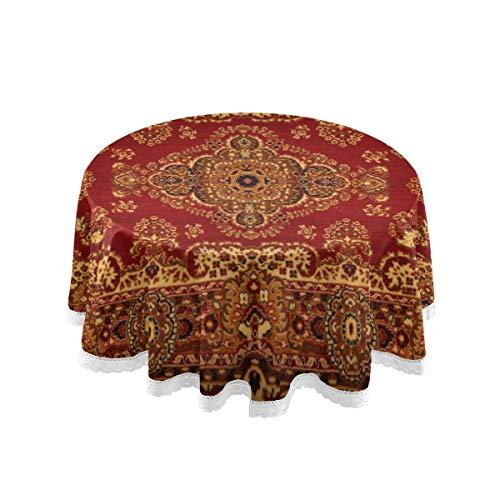 WYYWCY Runde Tischdecke im Freien persische Textur Ornament Runde Mandala Royal Red Dinning Tischdecke 60 Zoll Lace Stitching Makramee Polyester Dekoration