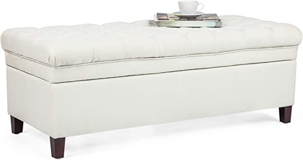 Asense Rectangular Tufted Storage Ottoman Bench Large Storage Fabric Pure White