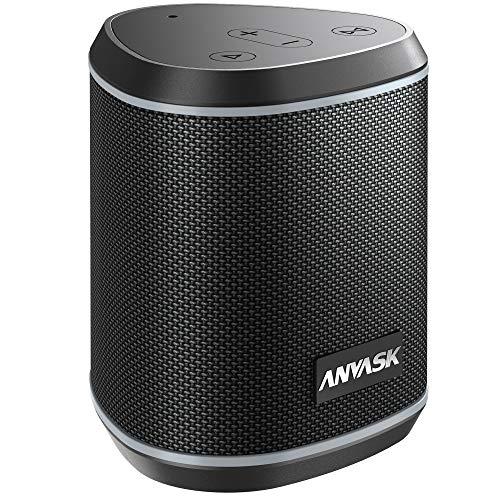 5.0 Bluetooth Lautsprecher IPX7 Wasserschutz, ANVASK Tragbarer 360° Stereo Sound with TWS, Eingebautes Mikrofon, 24h Akku, Wireless Lautsprecher 15m Bluetooth Reichweite für Outdoor (Schwarz)