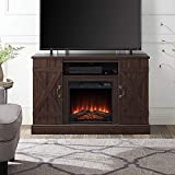 BELLEZE Industrial Rustic Electric Fireplace TV Stand & Media Entertainment Center Console Table for TVs up to 50 Inch with Open Storage Shelves & Cabinets – Veropeso (Espresso)
