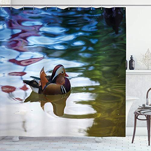 Romance-and-Beauty Afrika Duschvorhang 72x72 in, Chinesische Mandarine Enten Segel im Fluss Ost Winged Creature Peace Habitat, Stoff Stoff Badezimmer Dekor Set mit Haken Braun Grün