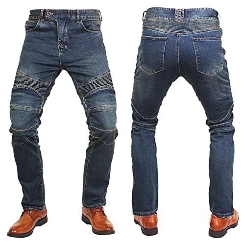 YXYECEIPENO Pantalones De Motociclista De Gran Elasticidad Vaqueros De Moto Equipo De Protección Extraíble Tejido De Mezclilla Muy Elástico (XS-5XL, 9 Tamaños) (Color : Blue, Tamaño : XS)