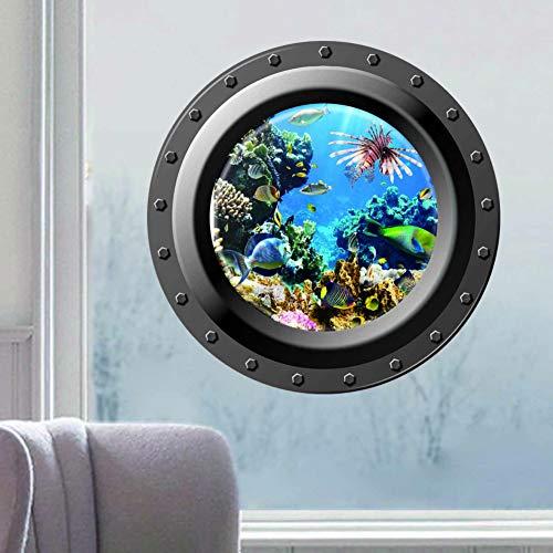 VCTQR Wandaufkleber 3D wandaufkleber seelandschaft Fenster u-Boot Applique bullauge Grafiken Meer Portal pils Stick Meer Kreuzfahrt wandkunst kinderzimmer Dekoration