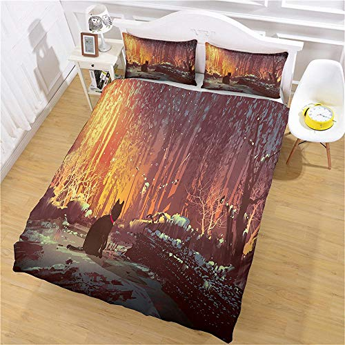 DJOIEPO Duvet Cover Set King Size 220X230cm Woods black cat Quilt Cover Ultra Soft Breathable with zipper closure Duvet set with 2 pillow cases 3 Pcs Bed set for adults kids