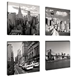 Visario 6901 - Quadro su Tela, Set New York, 4 x 20 x 20 cm