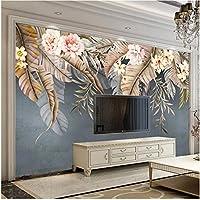 Lcymt 壁画の壁紙 カスタム壁画壁紙3D熱帯植物葉花壁画リビングルームテレビソファ寝室の装飾壁紙フレスコ画-250X175Cm