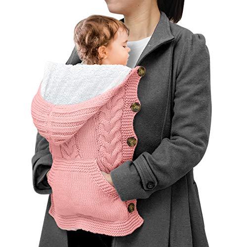 Hinzonek Neugeborener Strickumhang mit Fleecefutter Jungen Jungen Mädchen Winddichter Warmer Kapuzenmantel Gestrickter Schlafsack