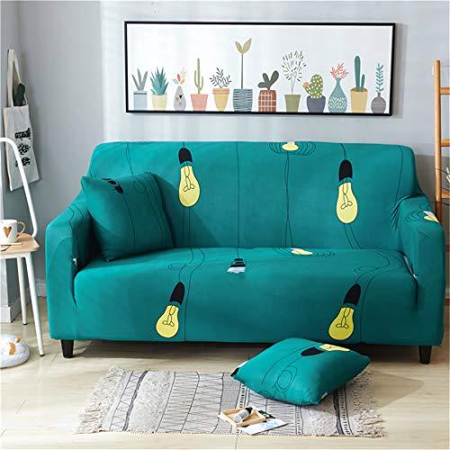 Funda elástica para sofá de tela elástica con patrón impreso de luz eléctrica, para sillón, sofá o sofá (verde, 1 plaza)
