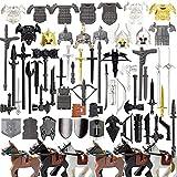 EWWEEQQ Juego de Armas Militares Personalizadas para Soldados Mini Figuras SWAT Police 72 Piezas Casco de Estilo Medieval Armadura Espada Juego de Armas Bloques de construcción para Mini Figuras Leg