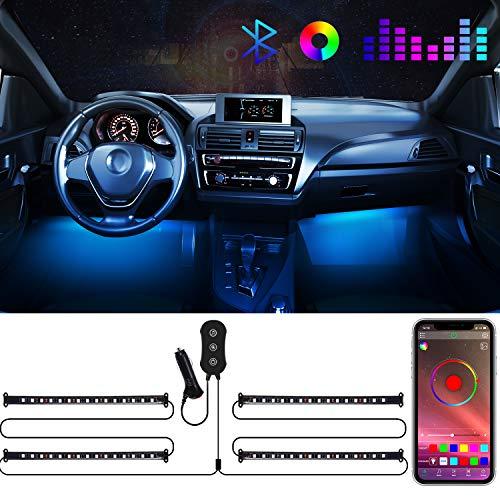 Tiras LED Coche, POMILE Luz interior coche, 4pcs RGB 60 LED APP Control Dos Líneas de Diseño a Prueba de Agua Luces de la atmósfera del coche DIY Colour Music Sync DC 12V