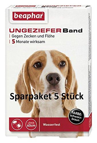 SPARPAKET: 5 x Beaphar Ungezieferhalsband / Flohband für Hunde L 65cm