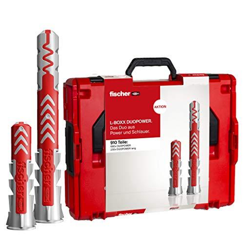 fischer - DuoPower L-Boxx, caja surtida de tacos DuoPower, taco para pladures, ladrillo y hormigón, diámetros 6, 8, 10, caja resistente a golpes y apilable de 910 unidades
