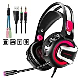 Gaming Headset with Microphone, 7.1 Stereo Surround Sound Wired Over Ear Headphone