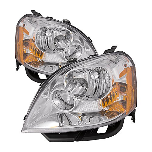 HEADLIGHTSDEPOT Chrome Housing Halogen Headlights Compatible With Ford Five Hundred 2005-2007 Includes Left Driver and Right Passenger Side Headlamps