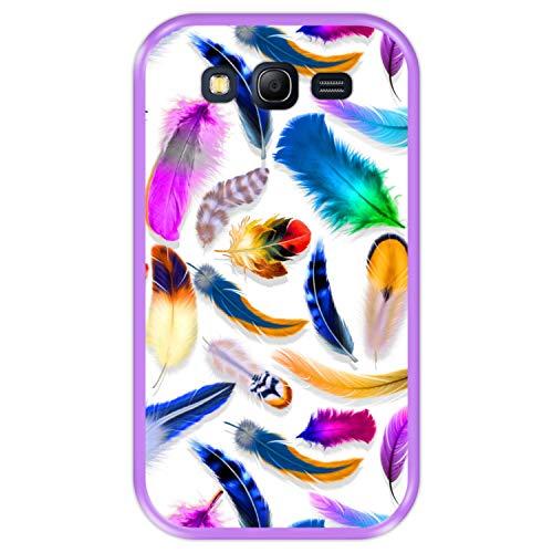Hapdey Funda Morada para [ Samsung Galaxy Grand Lite - Grand Neo - Neo Plus ] diseño [ Plumas de Colores múltiples ] Carcasa Silicona Flexible TPU