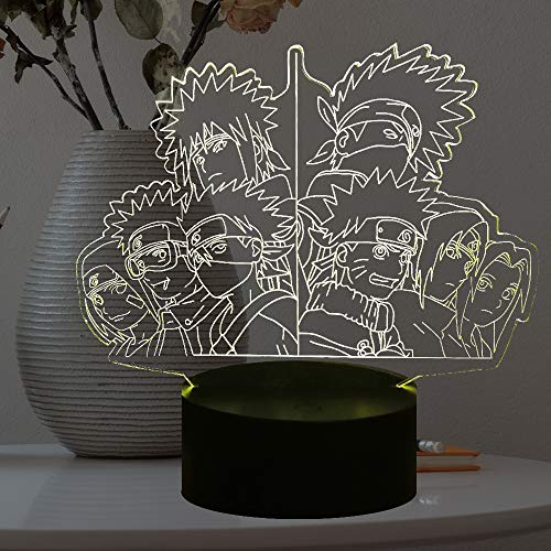 Naruto Uzumaki Lampe 3D Optischer Sensor Touch Change Japan Anime Figur Kakashi Sasuke Boy Fans Zimmer Safe of Kids Sleep Produzieren LED Schreibtischlampe 7 Farbe Kakashi Hatake Nachtlicht