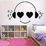 Etiqueta De La Pared Auriculares Música Calcomanía Mural Arte Decoración Sala De Estar Habitación De Los Niños Dormitorio Oficina Vinilo Decoración De Pared Extraíble 57X35Cm