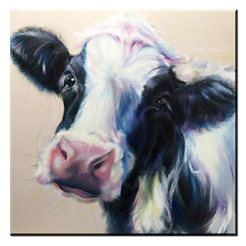 Rjunjie Gedrukt op canvas koe schilderij op canvas Bull dier schilderij muurkunst Picutres wooncultuur voor de woonkamer (60x60 cm geen lijst)
