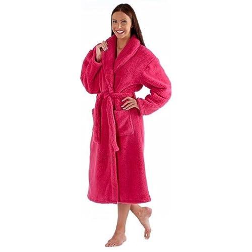 Ladies Luxury Soft Fluffy Fleece Dressing Gown Robe wrap Tie Belt 9b78e42ef