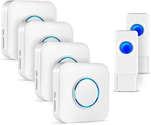 1byone Wireless doorbell Nouvelle Version Kit Carillon sans Fil Blanc 2 Plug-In R/écepteurs Non Piles Fourni avec 36 Sonneries de Qualit/é CD et 1 Bouton Poussoir Etanche