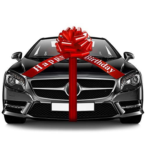 Happy Birthday Car Bow Large Car Ribbon Bow Wrapping Bow Decorative Pull Bow for Christmas Party Birthday Car Decoration (Red, 20 Inches)