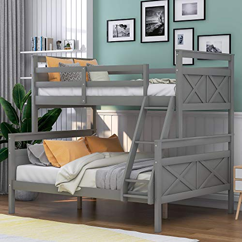 LZ LEISURE ZONE Twin Over Full Bunk Bed with Ladder, Safety Guardrail, Perfect for Kids Bedroom (Grey, Twin Over Full)