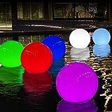 Luz Estanque Solar Flotante, Luz Bola Exterior Cambia Color Energía Solar, Luz Globo Jardin Impermeable IP68 para Piscina, Bañera Hidromasaje, Bañera, Luz Noche Decorativa para Fiestas de Eventos-2pcs