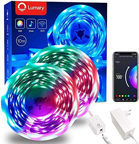 Lumary Striscia LED 5 Metri - LED Colorati per Camera App Controllato Musica Smart Luci LED Camera da Letto,WiFi RGB LED Striscia Compatibile con Alexa,per Decorazioni Cucina,TV,Festa,Bar ecc