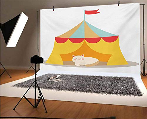 Circus 5x3 FT Vinyl Photography Background Backdrops,Furry Cat Kitten in a Circus Tent Smiling Fun Joy Famous Nostalgic Memory Artwork Background for Graduation Prom Dance Decor Photo Booth Studio Pro