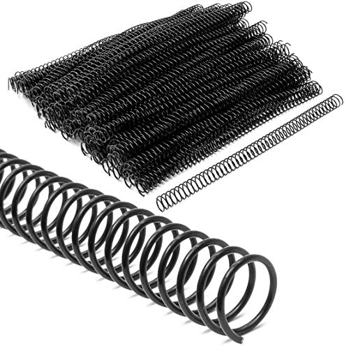 Black Spiral Binding Coils, Plastic Spines for 110 Sheets (12 in, 14mm, 4:1 Pitch, 100 Pack)