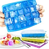 Zaloife Eiswürfelform Silikon, 3 Stück Eiswürfel Form Eiswürfelbehälter mit Deckel, Ice Cube Tray, Silikoneiswürfel Eisform, Eiswürfelformen Eiswuerfel Eiswürfelform für Familie Partys Bars, 24-Fach