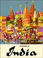 ERZAN大人のパズル木製パズル1500-バラナシインド東南アジアアジアヴィンテージ旅行広告大人子供パズル