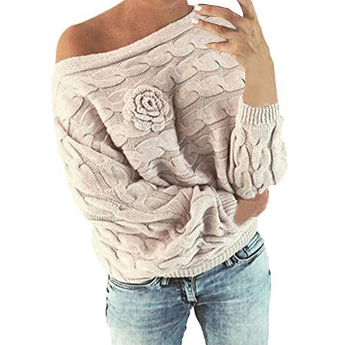 BaZhaHei Donna Maglione Invernale Manica Lunga a Maglia Sexy Felpa Spalle Scoperte Pullover Sweater Casual Floreale Maglioni Maniche a Pipistrello Tops Casuale (Beige, S)