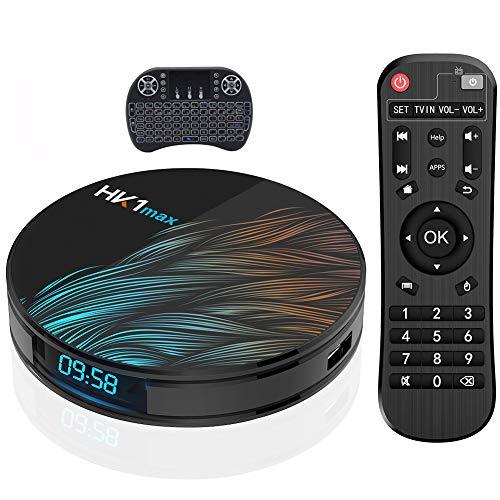 TV Box, HK1 MAX RK3318 Quad-Core Android 10.0 TV Box con Mini Teclado Inalámbrico 4GB RAM/32GB ROM Soporte 2.4Ghz/5.0 GHz WiFi Bluetooth 4.0/4K/3D/TV Box miniatura