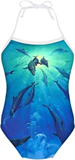 Galaxy Star Print Girls One Piece Swimsuit Sleeveless Bathing Suit for 3Y-8Y