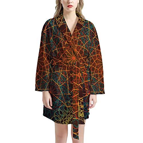 Pijamas de Las señoras, camisón de Mujer Albornoz Suave y cálido Ropa de Noche Robas de Moda Ropa de Dormir con 2 Bolsillos,One Size