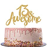 13 Awsome Cake Topper - Official 13 Teenager -13 & Fabulous - Boy/Girl 13 Year Old - Happy 13th Birthday Party Decoration