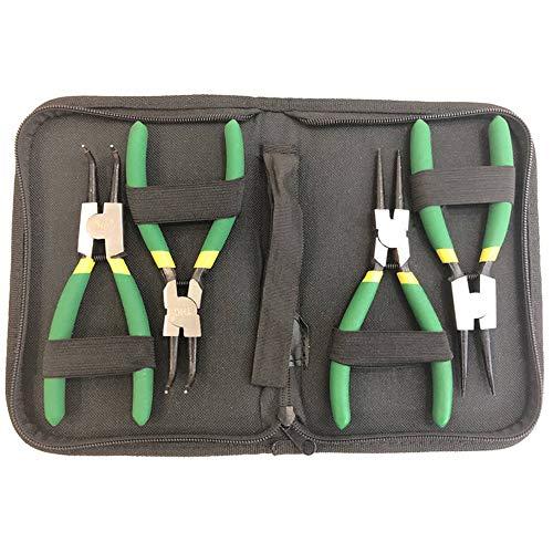 Gobesty Sprengringzangen Set, 4 Stück 125mm Sprengringzange Rutschhemmend Sicherungsringzange mit Taschen, Grün Gebogen/Gerade Seegeringzange Innen/Außen