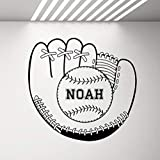 Gant De Baseball Avec Ballon Stickers Muraux Personnalisé Garçons Chambre Décor Cadeau Personnalisé Fans De Sport Mur Vinyle Autocollant 60 * 57