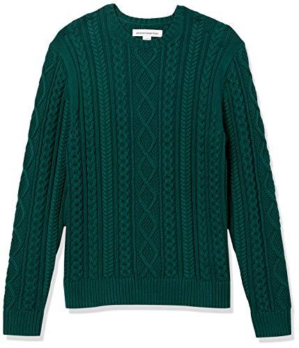 Amazon Essentials Men's Long-Sleeve 100% Cotton Fisherman Cable Crewneck Sweater, Dark Green, Medium