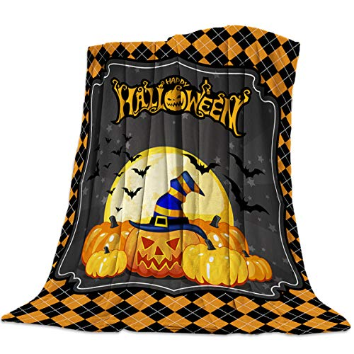 Sweet Comfort Dream Pumpkin Halloween Bat Moon Flannel Fleece Blankets Luxury Couch Cover Blanket Yellow Buffalo Soft Lightweight Plush Throw Blankets for Couch/Chair/Bedroom All Season, 40x50 inches