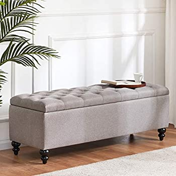 HUIMO Button-Tufted Ottoman with Storage in Upholstered Fabrics Large Storage Bench for Bedroom Living Room Entryway Storage Ottoman Bench with Safety Hinge Hold Up to 300lbs  Grey