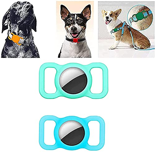 MUGUOY 2021 Silicone Protective Case for Apple Airtags Dog Cat Collar Loop, Adjustable Anti-Lost Locator Airtags GPS Finder, Hollow Pet Loop Holder, for Pet Collar Children Elderly Bags (B)